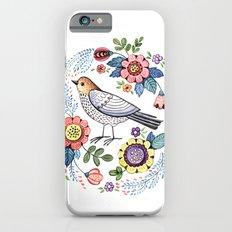 Romantic singing bird with flowers iPhone 6s Slim Case