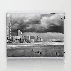Surfers waiting for the wave, Tel-Aviv, israel Laptop & iPad Skin