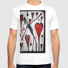 The Death of Hearts White Mens Fitted Tee SMALL