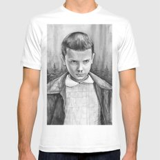 Stranger Things Eleven Watercolor Painting Black and White SMALL Mens Fitted Tee White