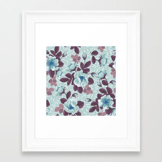 Retro Floral Pattern Framed Art Print