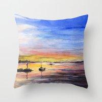Sunset Watercolor Painting Landscape Art Throw Pillow