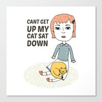 can't get up my cat sat down Canvas Print