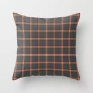 Dark Grey And Red Plaid Throw Pillow