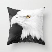 Bald Eagle With Yellow E… Throw Pillow