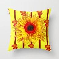Orange Poppies Stripes S… Throw Pillow