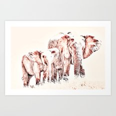 Animals Of The Rainbow Elephants Art Print