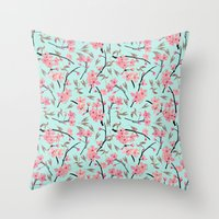 Cherry Blossom Pattern(sky) Throw Pillow
