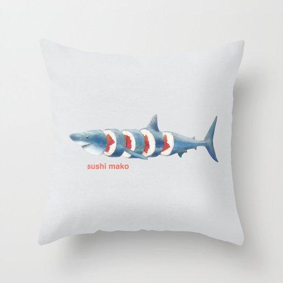 Sushi Mako (color option) Throw Pillow