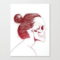 Skull Girls 2 - Crimson Maroon Canvas Print