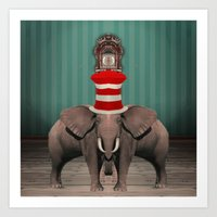 Cojoined Elephants Art Print
