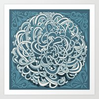 Detailed circlecorner, blue Art Print