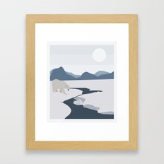 Polar Bear Blue Framed Art Print