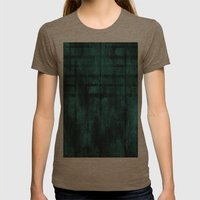 Turquoise Lined Rusted Metal Look Womens Fitted Tee Tri-Coffee SMALL
