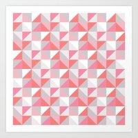 Peach Geometric; Art Print