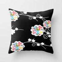 B&W Bloom Throw Pillow