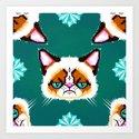 Grumpy Cat Geometric Pattern Art Print