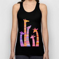 Giraffe Silhouettes in Colorful Tribal Print Unisex Tank Top