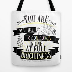 All The Bright Places by Jennifer Niven Book Quote Typography Tote Bag