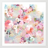 teal Art Prints featuring Love of a Flower by Girly Trend