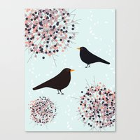Hawthorn & Blackbird Canvas Print