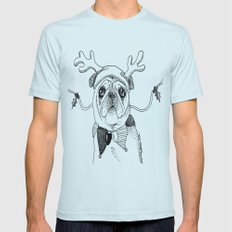 Jingle Pug Mens Fitted Tee Light Blue SMALL