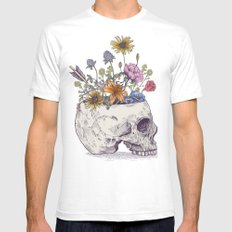 Half Skull Flowers Mens Fitted Tee SMALL White