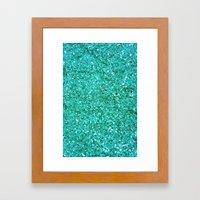 TEAL GLITTER  Framed Art Print