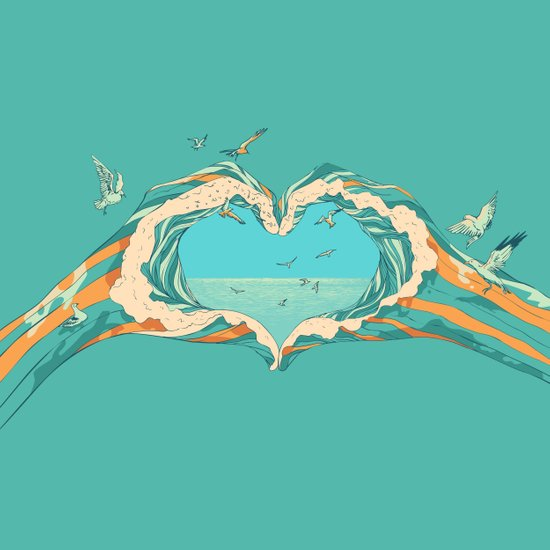 My Heart & The sea  Art Print