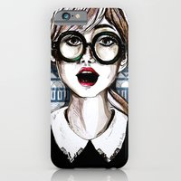 Girl And Blue Pattern iPhone 6 Slim Case