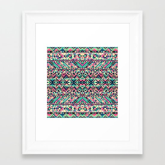 Pink Turquoise Girly Aztec Andes Tribal Pattern Framed Art Print