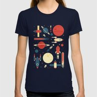 Space Odyssey Womens Fitted Tee Navy MEDIUM