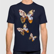 Vintage Butterfly Collag… Mens Fitted Tee Navy SMALL