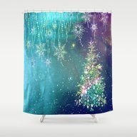 Winter Design QR Shower Curtain