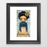 Frida In A Blue And Crea… Framed Art Print