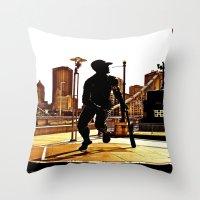 Roberto's Shadow Lives In Roberto's City Throw Pillow