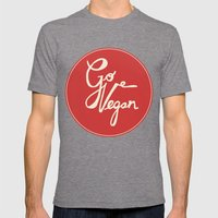 Go vegan Mens Fitted Tee Tri-Grey SMALL
