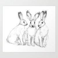 Three Hares sk131 Art Print