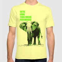 African Elephant Mens Fitted Tee Lemon SMALL