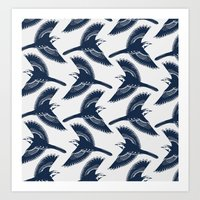 White Wagtails Pattern Art Print