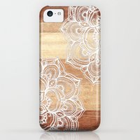 iPhone 5c Cases featuring White doodles on blonde wood - neutral / nude colors by micklyn