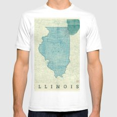 Illinois State Map Blue Vintage Mens Fitted Tee SMALL White