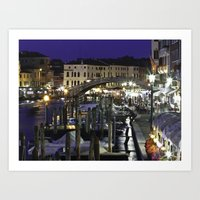 Night-time in Venice Art Print