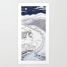 Snowy Night in Japan Art Print