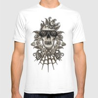 Brown Skully  Mens Fitted Tee White SMALL