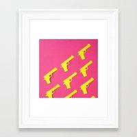 Framed Art Print featuring Guns Papercut by Sally Eyeballs