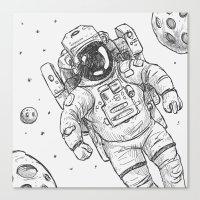 astro Traveller Retro Canvas Print