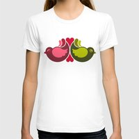 Olive Rosebirds Womens Fitted Tee White SMALL