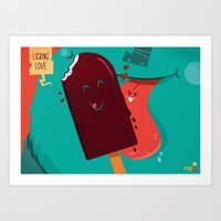 :::Licking Love::: Art Print