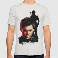 Monster Madness: Dexter Morgan  Mens Fitted Tee Silver SMALL